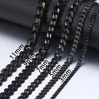 7inch-36inch,Black Stainless Steel Curb Cuban Necklace Bracelet for Men's Chain