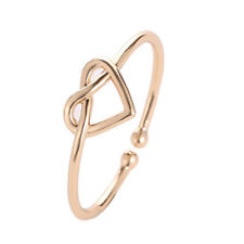 New Fashion Gold Silver Black Knot Heart Adjustable Open Finger Rings for Girls
