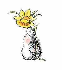 Hedgehog & Spring Daffodil Wood Mounted Rubber Stamp PENNY BLACK - NEW, 2304F