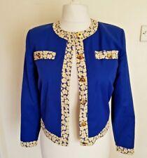 Vtg Franco Di Tardo Firenze Cropped Formal Jacket Ladies Size 10 Blue Wool Mix