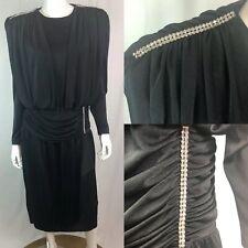 Vintage Elegance Women 12 Black Draped Rhinestone Jersey Midi Formal 80s Dress L