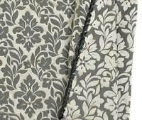 100% Silk Damask New Black & Pewter Drapery Fabric Floral Jacquard Upholstry