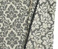 100% Silk Damask New Black & Pewter Drapery Fabric Floral Jacquard Upholstry