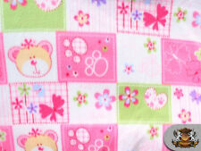 Fleece Printed SHE BEAR PINK Fabric sold by the yard