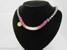 BEST QUALITY SHAMBALLA TUBE NECKLACE SILVER 925/PURPLE GENUINE CRYSTAL/HEMATITE