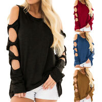Women'sNewAutumn Long Sleeve Strappy Cold Shoulder Bandage T-Shirt Tops Blouse