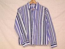 Tommy Hilfiger VTG long sleeve blue stripe button shirt / women's 12 / nice /b39