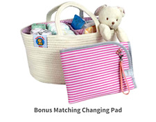 Extra Large Diaper Caddy Organizer Basket Woven Cotton Rope Storage Changing Pad