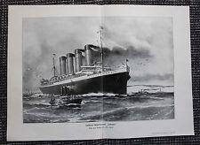 Buque RMS Lusitania impresión en color 1913 barco de vapor náutico Cunard Line