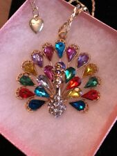 Betsey Johnson Necklace Peacock Gold Colorful Rainbow Beautiful Crystal Gift Box
