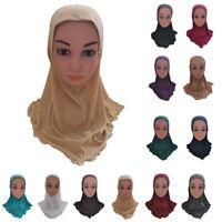 Plain Amira Hijab Muslim Kids Girls Headscarf Cap Hat Islamic Head Cover Wrap