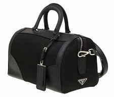 NEW PRADA BLACK TESSUTO SAFFIANO LEATHER LOGO PADLOCK BOSTON SHOULDER BAG