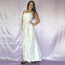 Perlas En Vestido de Novia XS 34 Vintage Estilo Campana Baile Maxi