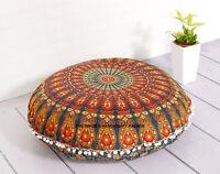 "32"" Bohemian Round Pillow Case Mandala Geometric Meditation Floor Cushion Cover"