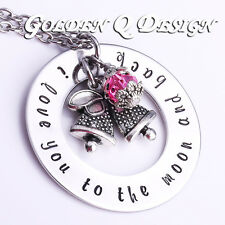Personalised Stainless Steel Any Name Or Words Christmas Bell Necklace D167