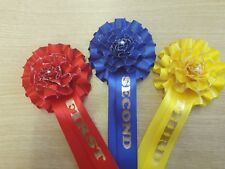 1st To 3rd X10 30 Christmas glitter Rosettes Dog Show Horse Event rose centre