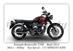 Triumph Bonneville T100 Motorcycle - A3 Size Print Poster on Photographic Paper