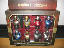 --IRON MAN 3 DELUXE SET of 8 1/6 BUST HOT TOYS Marvel SIDESHOW--buste