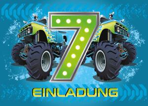 Einladungskarten 7. Kindergeburtstag Monster-Truck Jungen Geburtstag Auto blau