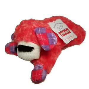 """Multipet Lamb Chop Swirly Hair Squeaky Dog Toy Fetch Chew Plush Argyle Red 11"""""""