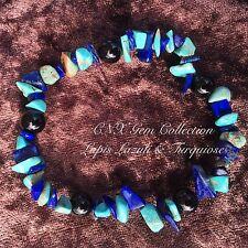 Crystal Gemstone Lapis Lazuli N Turquoise ChipStone Onyx Bead Stretchy Bracelet