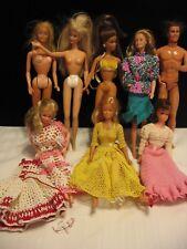 Lot Of 8 Asst. Mattel Barbie Ken & Other Dolls / Clothes (E58)