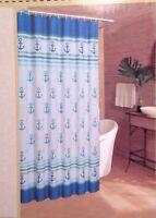 Caribbean Joe NANCY ANCHOR Nautical Fabric Shower Curtain Teal Blue White Gold