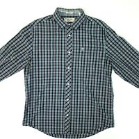 Penguin Men's Long Sleeve Button Down Plaid Shirt Classic Fit Blue White C8