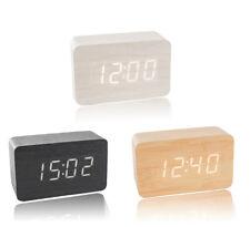 LED Wecker Digital Alarmwecker Uhr Kalender Beleuchtet Holz Alarm Akustiksensor