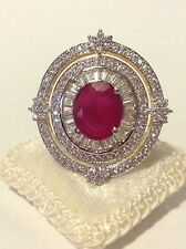 BEYOND LUXURY, BREATHTAKING 5CT NATURAL RED RUBY, CLEAR SAPPHIRES, GOLD PT RING