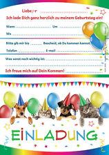 12 Einladungskarten Einladungen Kindergeburtstag Geburtstag LUSTIGE KATZEN  HUNDE
