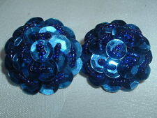 VINTAGE BLUE SEQUENCE & SEED BEAD CLIP EARRINGS IN GIFT BOX