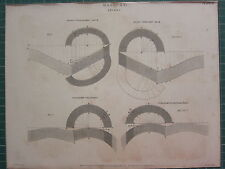 1813 fechado Antiguo impresión ~ mampostería Arcos cylindro-cylindric Plano