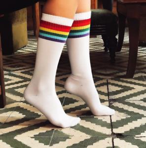 Women's White-Colorfull Stripe Under the Knee Socks-Skating Socks-Stripe socks