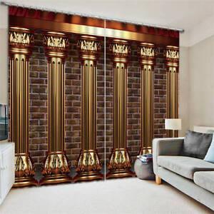 Luxury Cylinders Bricks 3D Blockout Photo Printing Curtains Draps Fabric Window