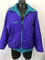 VINTAGE COLUMBIA Womens Size L Purple Turquoise Reversible Vintage Jacket Coat