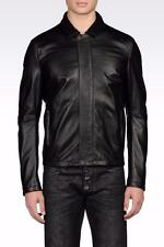 Emporio Armani Lambskin Leather Jacket Black EU56 XXL RRP £1250 coat