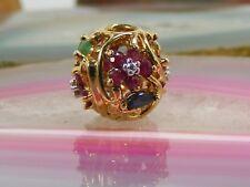 10k Gold Sapphire Emerald Ruby Diamond Flower SLIDE CHARM Pendant Fine Gem
