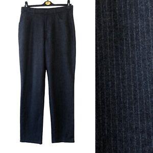 M&S Women Trouser UK 10 12 Grey Pin Stripe WOOL BLEND Tapered Formal Pocket Work
