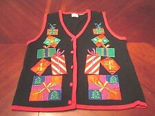 WOMEN'S KATHIE LEE PRESENTS BOWS UGLY CHRISTMAS PARTY SWEATER VEST GAUDY SIZE S