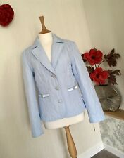 NWT SKY BLUE JACKET BY TAIFUN (GERRY WEBER) UK 14 EU 40 QUILTED/DIAMANTÉ BUTTONS