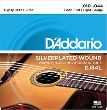 D'Addario EJ84L Gypsy Jazz LOOP End Light 10-44 Silver-plated Guitar Strings
