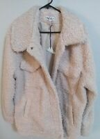 Knox Rose Sherpa XXL Jacket Oatmeal With Pockets ivory buttons tags on faux fur