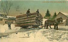 Artist Impression Logging Lumber New York 1909 Postcard 20-5101