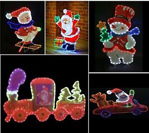 Santa & Snowman Framed MultiColoured Silhouette Christmas Decoration Rope Lights