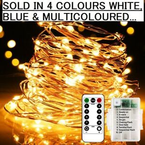 Fairy Lights Battery Operated Remote Indoor Outdoor 50LED Party String Lights 5M