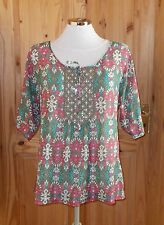 MONSOON olive green turquoise pink floral SILK chiffon short sleeve tunic top 10