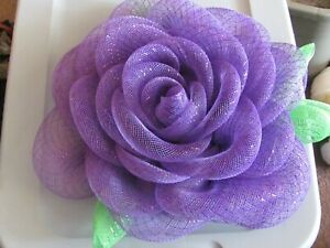 HOMEMADE DECO-MESH GORGEOUS PURPLE   ROSE WREATH (16 INCH)