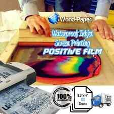 "Waterproof Inkjet Screen Printing Positive Transparency Film 8.5""x14"" 100 Sheet"