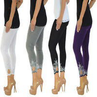 Damen Leggings Capri 3/4 Länge Caprihose mit Spitze High Waist Hose Slim Fit